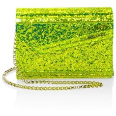 Jimmy Choo Candy Neon Glitter Acrylic Clutch ($850) ❤ liked on Polyvore featuring bags, handbags, clutches, yellow, glitter handbags, glitter clutches, yellow clutches, yellow purse and acrylic clutches