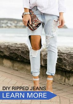 Ripped jeans aren't a new trend—not even close. In fact, the distressed style has fallen in and out of fashion favor since the 1980s, but it seems that lately they're more popular than ever. Find out how to make your own pair of DIY ripped jeans