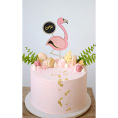 Flamingo Cake Pink with gold leaf