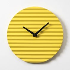 Wave Wall Clock by Sabrina Fossi Design - Yellow Projector Wall, Yellow Clocks, Wall Clock Design, Clock Wall, Modern Furniture, Furniture Design, Diy Clock, Telling Time, Aesthetic Bedroom