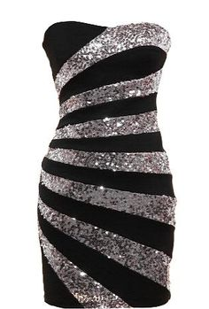 Swirled Candy Dress: Features a charming sweetheart bustline, noir base with glittering sequin bands stretched across the front, solid black backside, and sexy body-conscious silhouette to finish.
