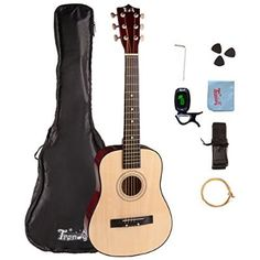 Trendy 30 Inch 1/2 Half Size Children Beginner Steel String Acoustic Guitar Package, Basswood, Nature