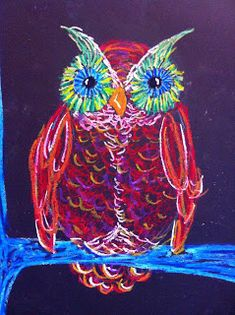 owl (oil pastel) from a 4th grade art class using line to show texture;also several Kindinsky-inspired lessons