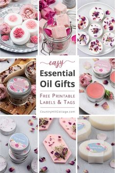 Learn how to make 8 quick and easy essential oil gifts for an essential oil gift basket. Included are DIY soap, lotion bars, sugar scrub + printable labels. Lip Balm Ingredients, Sugar Scrub Cubes, Handmade Gifts For Friends, Lip Balm Recipes, Homemade Soap Recipes, Lotion Bars, Homemade Beauty Products, Home Made Soap, Wax Melts