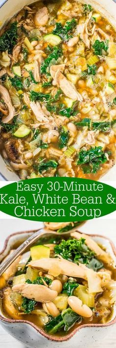 Easy Kale White Bean and Chicken Soup Loaded with juicy chicken healthy kale and tender beans Easy hearty and satisfying Love it when something healthy tastes s. Slow Cooker Recipes, Crockpot Recipes, Cooking Recipes, Cooking Tips, Weight Watchers Desserts, Heart Healthy Recipes, Healthy Heart, Healthy Soup Recipes, Soup And Salad