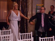 She looked stunning: Jenny McCarthy wore a Grecian gown during her wedding rehearsal which. Donnie And Jenny, Grecian Gown, Teary Eyes, Jenny Mccarthy, Donnie Wahlberg, Wedding Rehearsal, New Series, Looking Stunning, Gowns