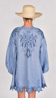 Fanm Mon SS17 BAYA Vyshyvanka Mini Dress Embroidered Denim Blue Linen Blue Cut Out Embroidery Dress