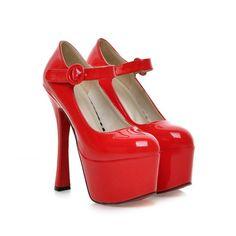 Hot Sale Sexy Black Pink Apricot Red Beige White Super High Heels Women Glossy Platform Pumps Ladies Shoes A8-8 alishoppbrasil