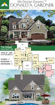 This two-story cottage garners curb-appeal from multiple gables accented with decorative brackets, metal roof details, and arched entries to the garage and front door. The Abigail house plan 1488. 2465 sq ft | 4 Beds | 4 Baths #wedesigndreams #cottage #twostory