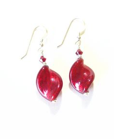 Murano Glass Red Silver Large Twist Earrings Italian by JKCJewels, $24.00