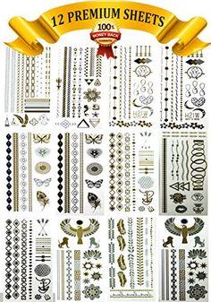 Flash Tattoos - HUGE Variety Bundle 12 sheets! - Temporary Tattoos - Over 180 metallic tatoos!