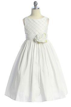 White Flower Girl Dress with Waffle Shaped Bodice