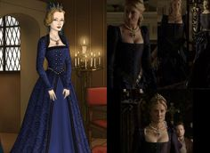 Blue Gown worn by Catherine Parr in Showtime's 'The Tudors' Catherine Parr Dark Blue Tudor Dress, Catherine Parr, Blue Dresses, Prom Dresses, Doll Divine, Dress Sketches, Blue Gown, Wedding Attire, The Dress
