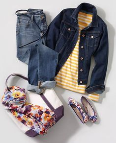 Our main rule for denim - mix, don't match. Wear a denim jacket and jeans in different shades - add pops of color with a striped tee, floral scarf and shoes! See more of our favorite looks for Fall at Lands' End.