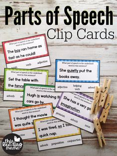 Parts of Speech Clip Cards – This Reading Mama Parts of Speech Clip or Task Cards – This Reading Mama Grammar Games, Teaching Grammar, Grammar Lessons, Student Teaching, Word Study, Word Work, Parts Of Speech Games, Nouns And Adjectives, Reading Task Cards