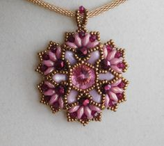 Beaded Pendant Pattern Beading Tutorial Sophia by poetryinbeads