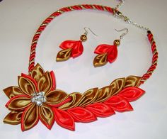 Handmade kanzashi satin fabric red-gold set of necklace earrings for wedding ecs.