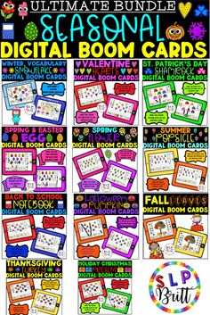 ULTIMATE SEASONAL BUNDLE, DIGITAL BOOM CARDS, (AAC). Great for distance learning! Includes: vocabulary, sentence structure, answering questions, sorting, categories, expressive & receptive language, speech. Use for Winter, Valentine's day, St. Patrick's day, Easter, Spring, Summer, Back to School, Halloween, Fall, Thanksgiving, Christmas. Receptive Language, Speech And Language, Speech Therapy Activities, Language Activities, Halloween Vocabulary, Sentence Structure, Speech Room, Back To School Activities, Autumn Activities
