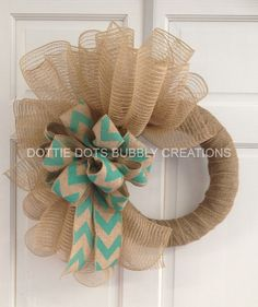 Natural Jute Burlap Chevron Spiral Mesh Wreath by dottiedot05, $45.00