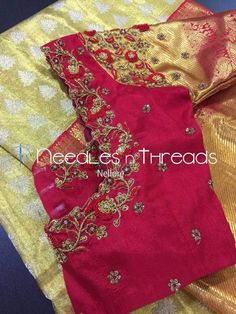 New Saree Blouse Designs, Best Blouse Designs, Bridal Blouse Designs, Blouse Patterns, Hand Embroidery Patterns Free, Simple Embroidery, Embroidery Designs, Blouse Desings, Maggam Work Designs