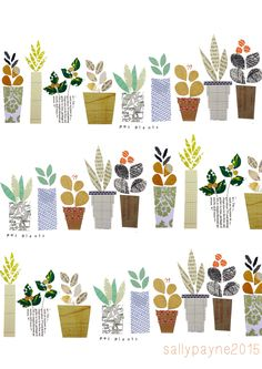 I just love the little personalities of Sally Payne's Plants #collage #plants #garden
