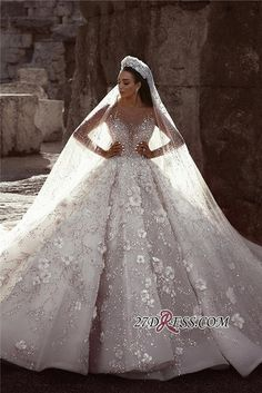 Luxurious Long Sleeve Wedding Dresses Ball Gown Flowers Crystal Wedding Dresses Item … – Famous Last Words Crystal Wedding Dresses, Sheer Wedding Dress, Luxury Wedding Dress, Wedding Dress Sleeves, Long Sleeve Wedding, Long Wedding Dresses, Princess Wedding Dresses, Bridal Dresses, Prom Dresses