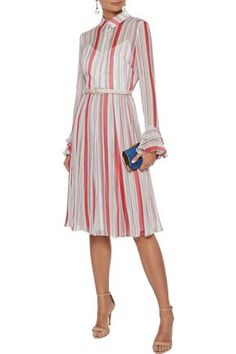 Mikael Aghal Belted Pleated Striped Georgette Dress In Red Belts For Women, Clothes For Women, Dresses For Sale, Dresses For Work, Dress Outfits, Fashion Outfits, Denim Shop, Knee Length Dresses, Jacket Dress