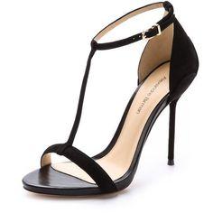Alexandre Birman Suede T Strap Sandals - Black ($179) ❤ liked on Polyvore featuring shoes, sandals, heels, sapatos, high heels, black high heel sandals, leather sandals, leather platform sandals, black sandals and heels stilettos