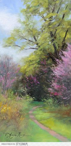 "Beautiful flowering tree pathway, ""Spring Trail"" Oil painting by Anna Rose Bain Pastel Landscape, Watercolor Landscape, Landscape Art, Watercolor Paintings, Art Paintings, Paintings Of Landscapes, Nature Oil Painting, Landscapes To Paint, Beautiful Landscape Paintings"
