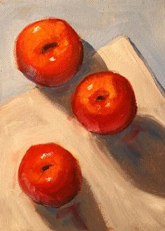 Still Life Painting Original Oil Kitchen Decor by smallimpressions (Art & Collectibles, Painting, Oil, Still Life Painting, Kitchen Decor, Red Apples Wall Art, Blue White, Original Oil, Vegan Food, 6x8 Stretched Canvas, Fruit Painting, Abstract, Small, Crimson, Small Format)