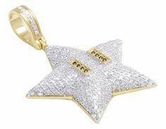 2a79ade18e1 10K Yellow Gold Over D/VVS1 Diamond Mario Super Star Pendant Charm 0.93 Ct #