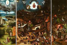 Jérôme Bosch, Le Jugement dernier, vers 1506. Huile et détrempe sur panneau de chêne. 163.7 × 274 cm Vienne, Akademie der bildenden Künste, Gemäldegalerie