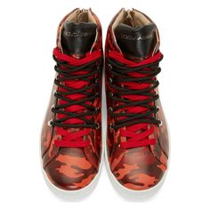 Dolce & Gabbana Red Camo Norvegia High-Top Sneakers