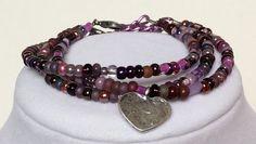 Purple Beaded Adjustable Bracelet Set of 3 with Silver Pewter Heart Charm, Stacker Bracelet, Stacking Bracelet, Friendship Bracelets, Pretty by CreationsByLacieK on Etsy