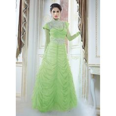 Eid Special Designer Light Green Color Party Wear Gown -9604( OFB-311 )Karishma