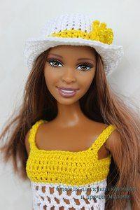 Barbie crotchet dress and hat