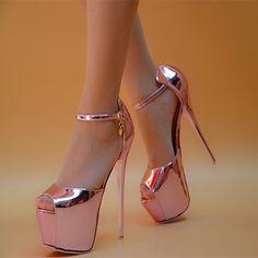 Women's Pink Stripper Heels Super Stiletto Heel Ankle Strap Sandals for Night club, Dancing club, Music festival Hot High Heels, Platform High Heels, High Heel Boots, Ankle Boots, Super High Heels, Pencil Heels, Talons Sexy, Stiletto Heels, Shoes Heels