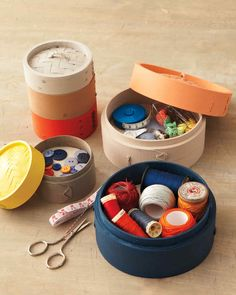 The same bamboo baskets you use to steam fish and vegetables become stylish color-blocked storage containers with one coat of paint.