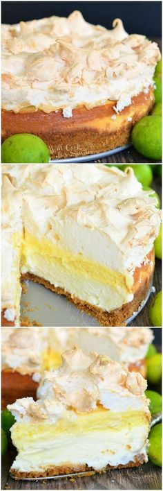 A layer of smooth cheesecake, a layer of key lime pie a… Key Lime Pie Cheesecake. A layer of smooth cheesecake, a layer of key lime pie and all topped with meringue for a perfect sweet and sour balance. Key Lime Pie Cheesecake, Key Lime Pie Bars, Healthy Cheesecake, Cheesecake Recipes, Easy Desserts, Delicious Desserts, Dessert Recipes, Lime Recipes, Easy Recipes
