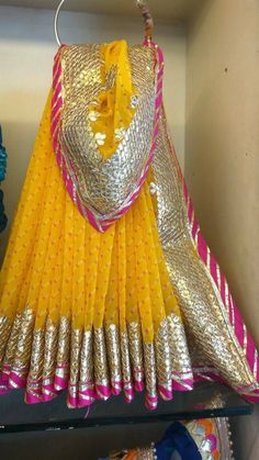 Traditional Leheriya Georgette Saree with Gota Patti work. Comes with Blouse piece Party Wear Indian Dresses, Bridal Mehndi Dresses, Pakistani Wedding Outfits, Bridal Outfits, Wedding Lehanga, Desi Wedding, Wedding Dresses, Lehnga Dress, Lehenga Blouse