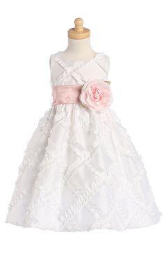 A-line Scoop Taffeta Tea-length Flower Girl Dresses 05379 – HoneyDress.com