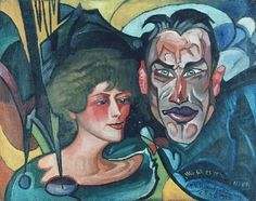 Stanisław Ignacy Witkiewicz (Witkacy), Portrait of Anna and Jarosław Iwaszkiewicz Art Deco Illustration, Harlem Renaissance, Magic Realism, Portraits, Artist Art, Dark Art, Picasso, Sculpture Art, Cool Art