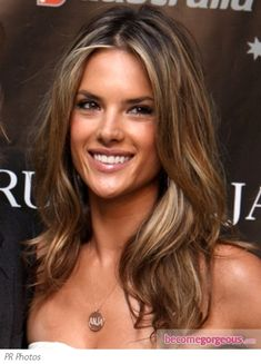 Alessandra Ambrosio with Blonde Hair Highlights