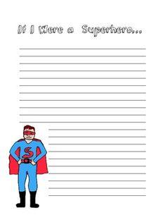 Superhero Writing Prompt Paper