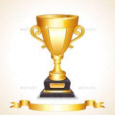 Golden Champions Trophy Cup. Vector Image