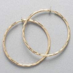 """Visit: hipandcoolcliponearringstwo.com and receive up to 30% off. CLIP ON GOLD SPRING BACK DENTED HOOP EARRINGS 2 1/4"""" #42  $13.99 http://hipandcoolcliponearringstwo.com"""