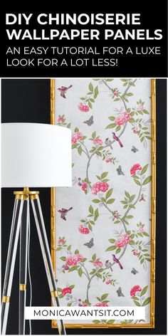 DIY Chinoiserie Wallpaper Panels Monica Wants It : DIY chinoiserie wallpaper panels using a ready made bamboo frame and affordable wallpaper. An easy home decor project. Chinoiserie Wallpaper, Chinoiserie Chic, Diy On A Budget, Decorating On A Budget, Diy Gifts For Christmas, Wallpaper Panels, Decorative Panels, Easy Home Decor, Diy Frame