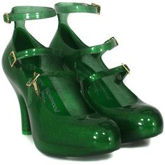 Vivienne Westwood - Shoes Three Strap Elevated Green Glitter Shoes ($90) ❤ liked on Polyvore featuring shoes, heels, women, gladiator shoes, glitter platform shoes, strap shoes, strappy shoes and glitter high heel shoes