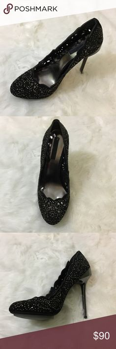 """BCBG Maxazria Shoes  Black suede with cutouts and rhinestones  Very pretty!!!  New in box - one shoe still in original plastic - other shoe taken out to try on  Heel Height 4 1/2"""" BCBGMaxAzria Shoes Heels"""