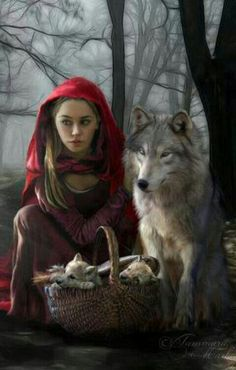 Little Red Riding Hood ~ With A Twist! ~ She Has Wolf Pups in Her Basket!